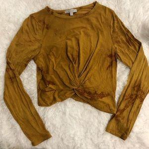 Gaze Twist Front Long Sleeve Mustard Tie Dye Top